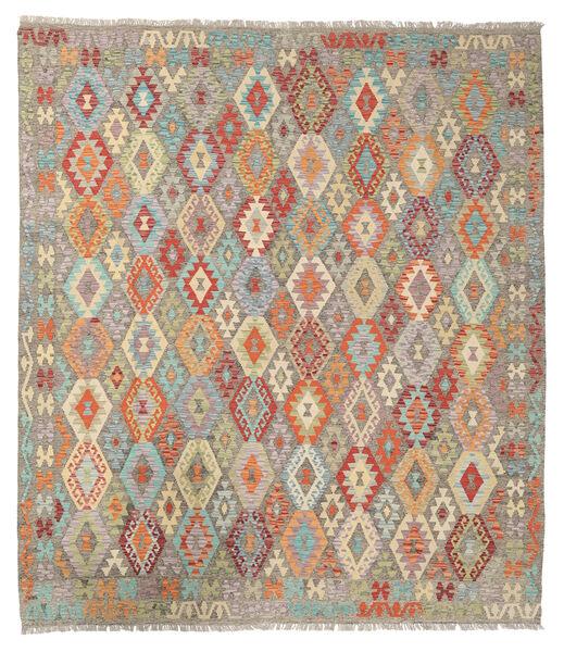 Kelim Afghan Old Style Matto 261X296 Itämainen Käsinkudottu Vaaleanharmaa/Keltainen Isot (Villa, Afganistan)