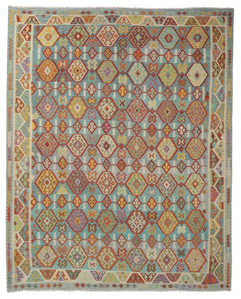 Kelim Afghan Old Style Matto 316X388 Itämainen Käsinkudottu Tummanpunainen/Siniturkoosi Isot (Villa, Afganistan)