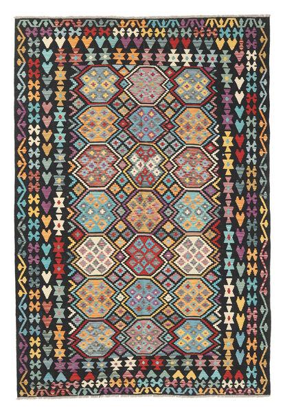 Kelim Afghan Old Style Matto 202X301 Itämainen Käsinkudottu Musta/Vaaleanharmaa (Villa, Afganistan)