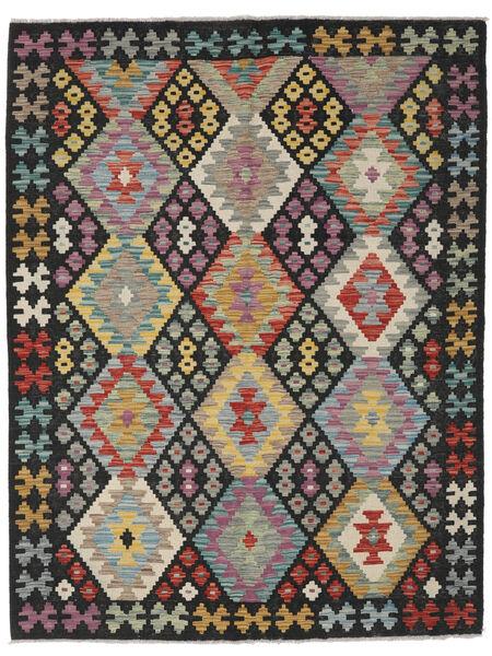 Kelim Afghan Old Style Matto 149X199 Itämainen Käsinkudottu Musta/Vaaleanharmaa (Villa, Afganistan)