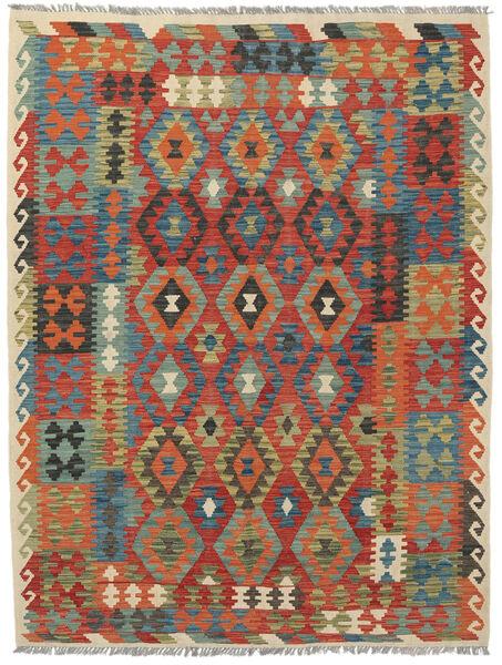 Kelim Afghan Old Style Matto 186X247 Itämainen Käsinkudottu Tummanpunainen/Tummanvihreä (Villa, Afganistan)