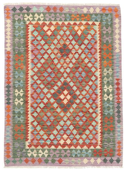 Kelim Afghan Old Style Matto 125X171 Itämainen Käsinkudottu Vaaleanharmaa/Tummanpunainen (Villa, Afganistan)