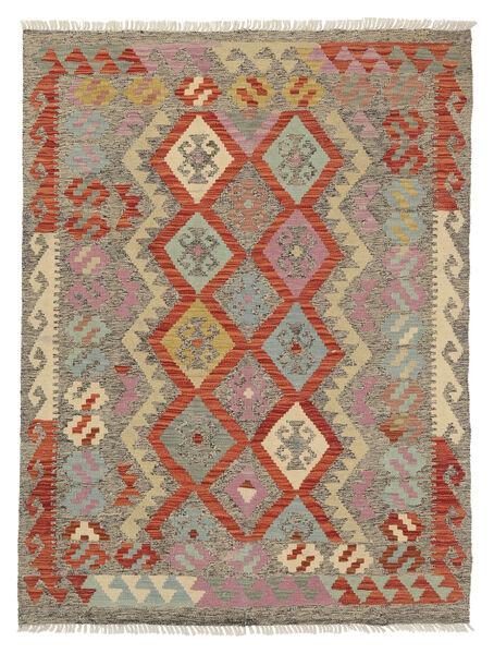 Kelim Afghan Old Style Matto 130X174 Itämainen Käsinkudottu Vaaleanharmaa/Vaaleanruskea (Villa, Afganistan)