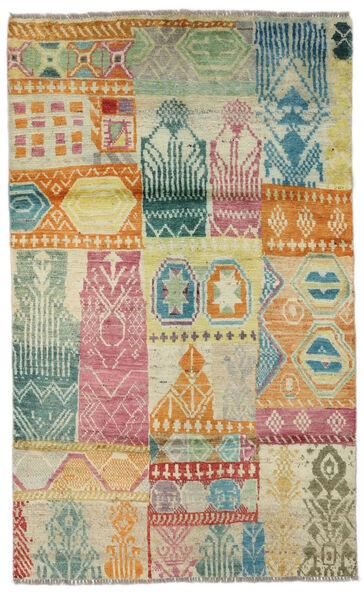 Moroccan Berber - Afghanistan Matto 115X191 Moderni Käsinsolmittu Tummanbeige/Vaaleanvihreä (Villa, Afganistan)