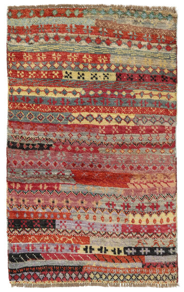Moroccan Berber - Afghanistan Matto 77X122 Moderni Käsinsolmittu Tummanpunainen/Vaaleanharmaa (Villa, Afganistan)