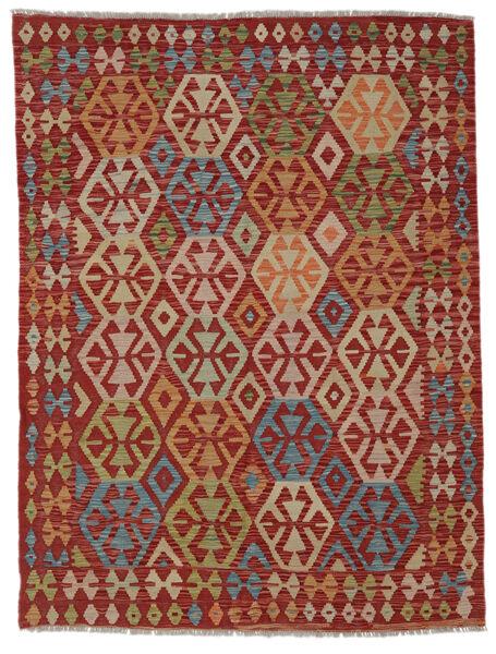Kelim Afghan Old Style Matto 148X195 Itämainen Käsinkudottu Tummanpunainen/Vaaleanruskea (Villa, Afganistan)