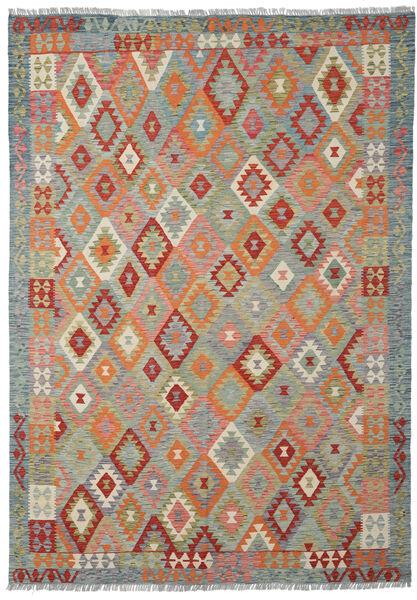 Kelim Afghan Old Style Matto 207X291 Itämainen Käsinkudottu Vaaleanharmaa/Tummanpunainen (Villa, Afganistan)