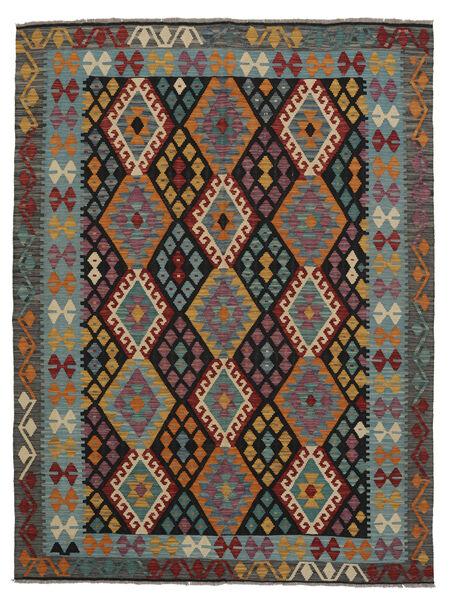 Kelim Afghan Old Style Matto 179X229 Itämainen Käsinkudottu Musta/Tumma Turkoosi (Villa, Afganistan)