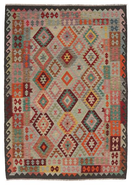 Kelim Afghan Old Style Matto 191X250 Itämainen Käsinkudottu Tummanruskea/Musta (Villa, Afganistan)