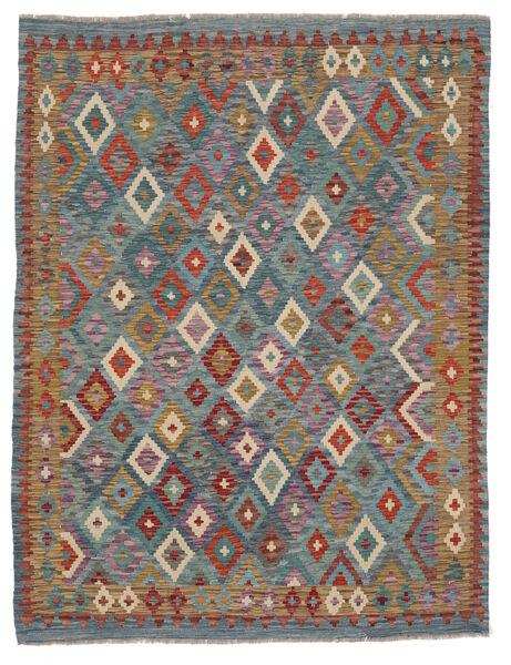 Kelim Afghan Old Style Matto 181X240 Itämainen Käsinkudottu Tummanvihreä/Tummanruskea (Villa, Afganistan)