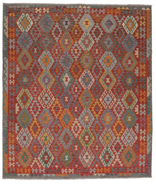 Kelim Afghan Old Style Matto 253X295 Itämainen Käsinkudottu Tummanruskea/Musta Isot (Villa, Afganistan)