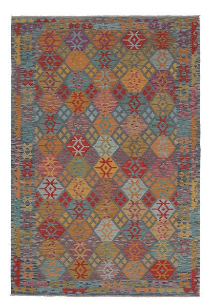 Kelim Afghan Old Style Matto 202X306 Itämainen Käsinkudottu Tummanruskea/Musta (Villa, Afganistan)