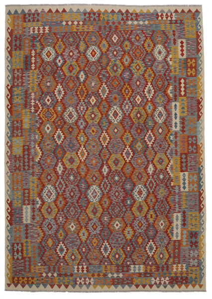Kelim Afghan Old Style Matto 247X349 Itämainen Käsinkudottu Tummanruskea/Musta (Villa, Afganistan)