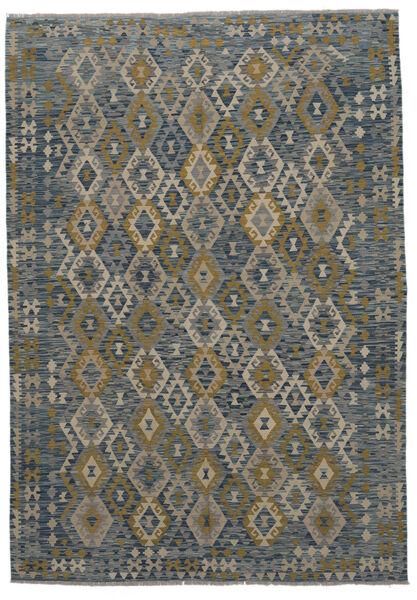 Kelim Afghan Old Style Matto 211X304 Itämainen Käsinkudottu Musta/Tummanvihreä (Villa, Afganistan)