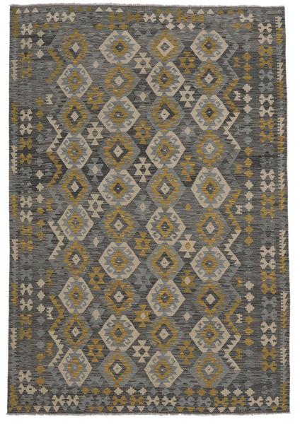 Kelim Afghan Old Style Matto 209X303 Itämainen Käsinkudottu Musta (Villa, Afganistan)