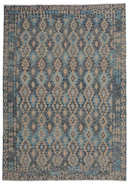 Kelim Afghan Old Style Matto 210X297 Itämainen Käsinkudottu Musta/Tummanruskea (Villa, Afganistan)