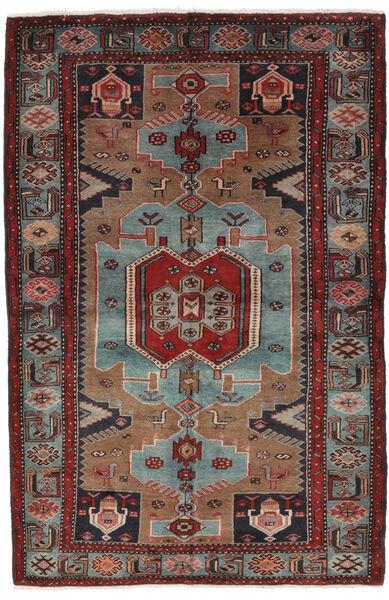 Hamadan Matto 132X205 Itämainen Käsinsolmittu Musta/Tummanruskea (Villa, Persia/Iran)