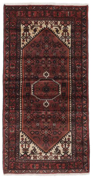 Hamadan Matto 100X195 Itämainen Käsinsolmittu Musta/Tummanruskea (Villa, Persia/Iran)