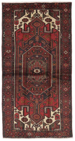 Hamadan Matto 107X207 Itämainen Käsinsolmittu Musta/Tummanruskea (Villa, Persia/Iran)