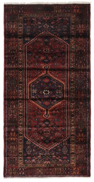 Hamadan Matto 104X212 Itämainen Käsinsolmittu Musta (Villa, Persia/Iran)