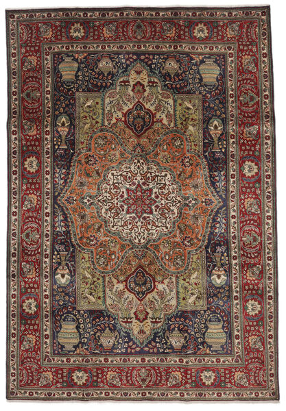 Tabriz Matto 208X297 Itämainen Käsinsolmittu Tummanruskea/Musta (Villa, Persia/Iran)