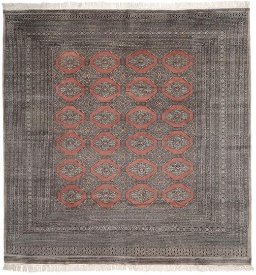 Pakistan Bokhara 2Ply Matto 247X255 Itämainen Käsinsolmittu Neliö Musta/Tummanruskea (Villa, Pakistan)