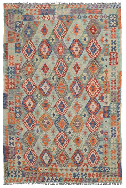 Kelim Afghan Old Style Matto 202X300 Itämainen Käsinkudottu Musta/Tummanvihreä (Villa, Afganistan)