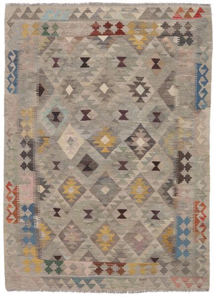 Kelim Afghan Old Style Matto 145X203 Itämainen Käsinkudottu Tummanruskea/Ruskea (Villa, Afganistan)