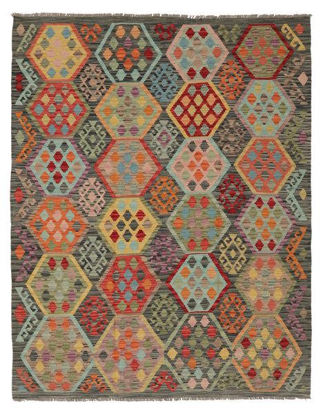Kelim Afghan Old Style Matto 160X204 Itämainen Käsinkudottu Tummanruskea/Tummanvihreä (Villa, Afganistan)