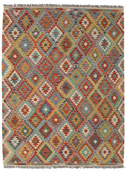 Kelim Afghan Old Style Matto 155X200 Itämainen Käsinkudottu Tummanruskea/Tummanvihreä (Villa, Afganistan)