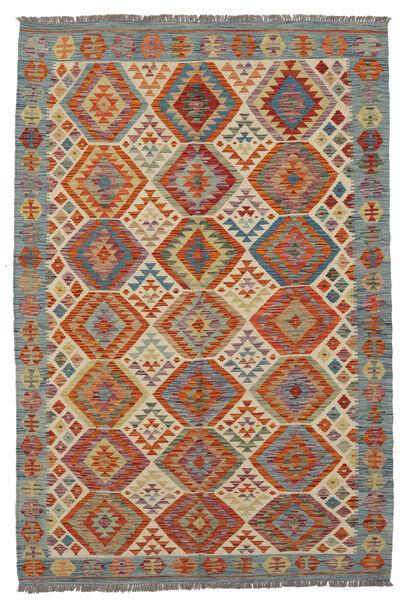 Kelim Afghan Old Style Matto 133X205 Itämainen Käsinkudottu Tummanruskea/Beige (Villa, Afganistan)