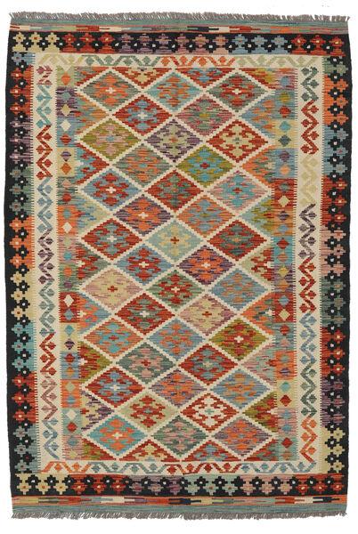 Kelim Afghan Old Style Matto 131X191 Itämainen Käsinkudottu Tummanruskea/Musta (Villa, Afganistan)
