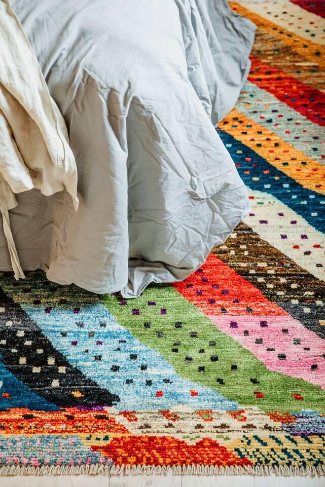 Valkoinen  moroccan berber - afghanistan - matto makuuhuone.