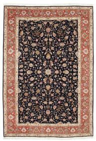 Tabriz 50 Raj Silkillä Matto 207X306 Itämainen Käsinsolmittu Musta/Tummanpunainen (Villa/Silkki, Persia/Iran)