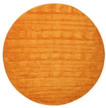 Handloom - Oranssi Matto Ø 200 Moderni Pyöreä Oranssi/Vaaleanruskea (Villa, Intia)