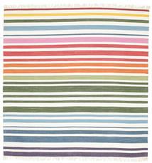 Rainbow Stripe - Valkoinen Matto 200X200 Moderni Käsinkudottu Neliö Beige/Valkoinen/Creme (Puuvilla, Intia)