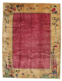 Kiina Antiikki: Art Deco 1920 Matto 275X360 Itämainen Käsinsolmittu Vaaleanruskea/Punainen/Tummanpunainen Isot (Villa, Kiina)