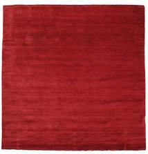Handloom Fringes - Tummanpunainen Matto 250X250 Moderni Neliö Punainen Isot (Villa, Intia)