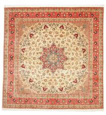Tabriz 50 Raj Silkillä Matto 292X298 Itämainen Käsinsolmittu Neliö Beige/Ruoste Isot (Villa/Silkki, Persia/Iran)