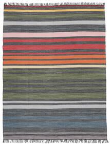 Rainbow Stripe - Harmaa Matto 250X300 Moderni Käsinkudottu Tummanharmaa/Oliivinvihreä Isot (Puuvilla, Intia)