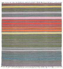 Rainbow Stripe - Harmaa Matto 200X200 Moderni Käsinkudottu Neliö Tummanharmaa/Vaaleanharmaa (Puuvilla, Intia)
