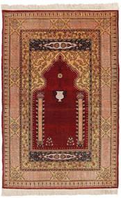 Herike Tu Matto 82X130 Itämainen Käsinsolmittu Tummanpunainen/Vaaleanruskea (Silkki, Turkki)