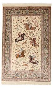 Ghom Silkki Allekirjoitettu: Sharifi Matto 130X200 Itämainen Käsinsolmittu Beige/Ruskea (Silkki, Persia/Iran)