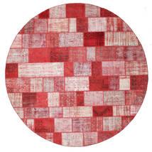 Patchwork Matto Ø 398 Moderni Käsinsolmittu Pyöreä Vaaleanpunainen/Punainen Isot (Villa, Turkki)