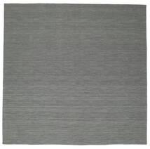Kelim Loom - Tummanharmaa Matto 300X300 Moderni Käsinkudottu Neliö Tummanvihreä/Vaaleanharmaa Isot (Villa, Intia)