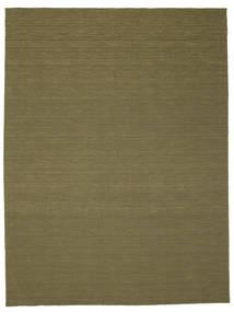 Kelim Loom - Oliivin Matto 300X400 Moderni Käsinkudottu Oliivinvihreä Isot (Villa, Intia)