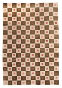 Himalaya Matto 193X282 Moderni Käsinsolmittu Beige/Tummanbeige (Villa, Intia)