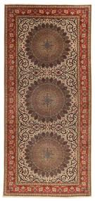 Tabriz 60 Raj Silkkiloimi Matto 200X450 Itämainen Käsinsolmittu Käytävämatto Ruskea/Tummanruskea (Villa/Silkki, Persia/Iran)