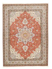 Tabriz 50 Raj Matto 150X208 Itämainen Käsinsolmittu Vaaleanharmaa/Ruskea (Villa/Silkki, Persia/Iran)