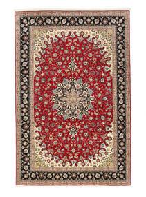 Tabriz 50 Raj Matto 198X307 Itämainen Käsinsolmittu Tummanpunainen/Vaaleanruskea (Villa/Silkki, Persia/Iran)